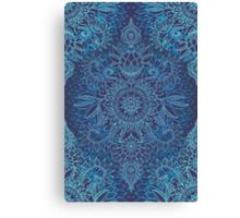 Aqua, Cobalt Blue & Purple Protea Doodle Pattern Canvas Print