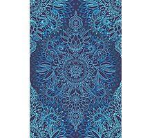Aqua, Cobalt Blue & Purple Protea Doodle Pattern Photographic Print