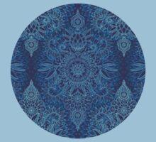 Aqua, Cobalt Blue & Purple Protea Doodle Pattern T-Shirt