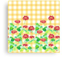 Watercolor Red Gerbera Gingham Yellow Weave Pattern Canvas Print