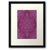 Magenta, Pink & Coral Protea Doodle Pattern Framed Print