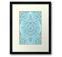 Turquoise Blue, Teal & White Protea Doodle Pattern Framed Print