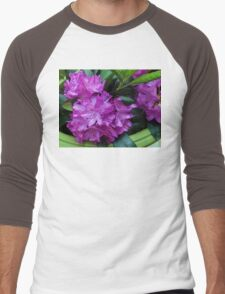 Vibrant Rhododendron Blossoms Men's Baseball ¾ T-Shirt