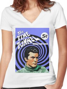 Time Tunneler Women's Fitted V-Neck T-Shirt