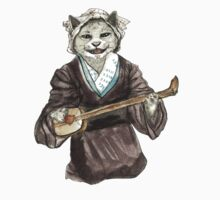 A Singing Cat Playing Samisen One Piece - Long Sleeve