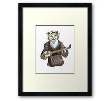 A Singing Cat Playing Samisen Framed Print