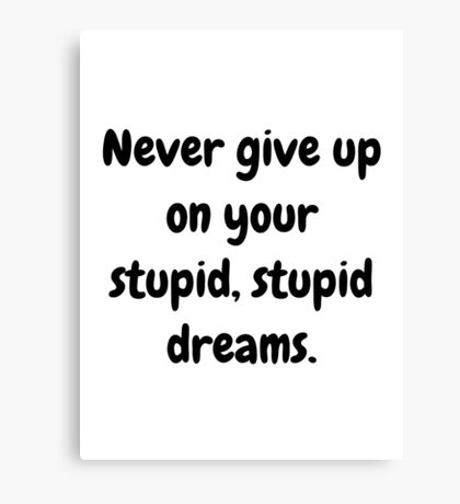 Never give up on your stupid dreams funny sarcasm joke gift Canvas Print