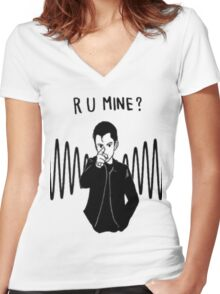 R U MINE? Women's Fitted V-Neck T-Shirt