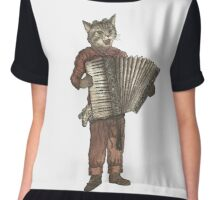 Accordion Cat with Goggles and Mask Chiffon Top