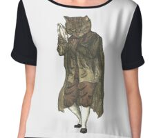 Dancing Cat Plays Tambourine Chiffon Top
