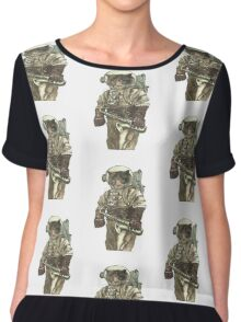 Space Cat with Saxophone Chiffon Top