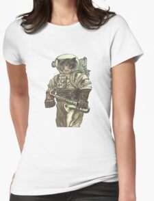 Space Cat with Saxophone Womens Fitted T-Shirt