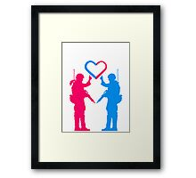 Soldiers couple love heart woman girl man boy Framed Print