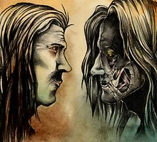 Victor Frankenstein and his Creature Face to Face by NicolaGirello