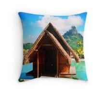 Chapel in Bora Bora - Tahiti Throw Pillow