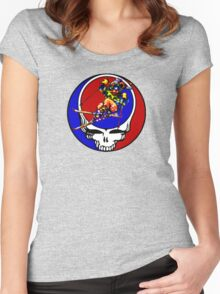 Grateful Dead Skiing Bear Women's Fitted Scoop T-Shirt