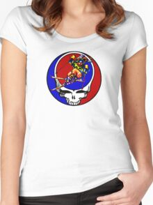 Grateful Dead Skiing Bear Women's Fitted Scoop T-Shirt