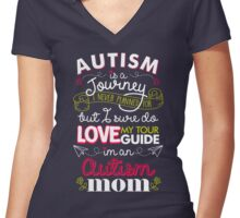 Autism Is A Journey I Never Planned For But I Love My Guide Women's Fitted V-Neck T-Shirt