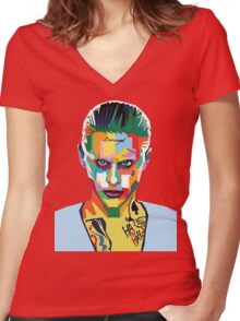 jared leto of joker Women's Fitted V-Neck T-Shirt