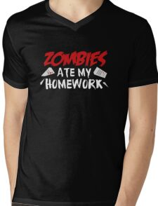 Zombies Ate My Homework Mens V-Neck T-Shirt