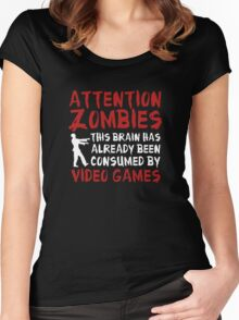Attention Zombies Women's Fitted Scoop T-Shirt