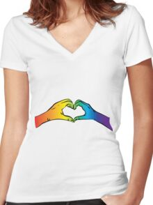 Hands Heart Rainbow Gay Rights Pride Women's Fitted V-Neck T-Shirt