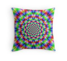 Red Green and Blue Rosette Throw Pillow