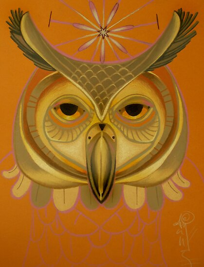 orange owl totem by resonanteye