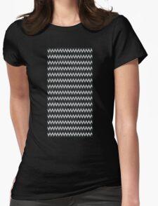Chevron Black And Silver Glitter Womens Fitted T-Shirt