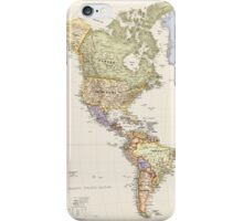 vintage world map - america iPhone Case/Skin