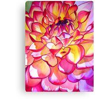 Pink Dahlia macro flower watercolour art Canvas Print