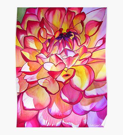 Pink Dahlia macro flower watercolour art Poster