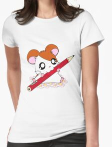 Hamtaro with pencil & flowers Womens Fitted T-Shirt