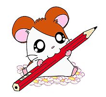 Hamtaro with pencil & flowers Photographic Print