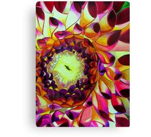 Purple Dahlia macro flower watercolour art Canvas Print