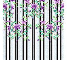 Watercolor Purple Clematis Black Stripes Brick Pattern Photographic Print