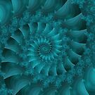 Turquoise Spiral Fractal by Kitty Bitty