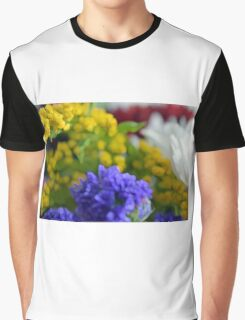 Colorful image in watercolor style with painted flowers. Graphic T-Shirt