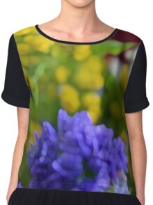 Colorful image in watercolor style with painted flowers. Chiffon Top