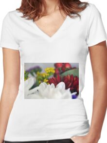 Macro on colorful flower petals. Women's Fitted V-Neck T-Shirt