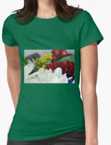 Macro on colorful flower petals. Womens Fitted T-Shirt