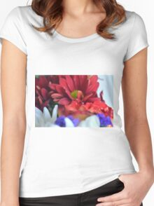 Macro on colorful flower petals in watercolor style Women's Fitted Scoop T-Shirt