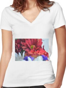 Macro on colorful flower petals in watercolor style Women's Fitted V-Neck T-Shirt