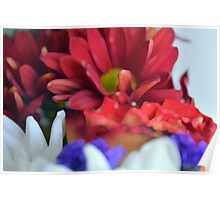 Macro on colorful flower petals in watercolor style Poster