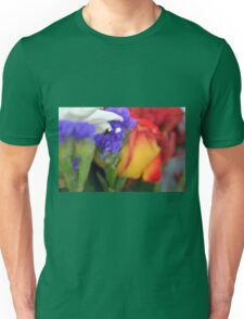 Colorful image in watercolor style with painted flowers. Unisex T-Shirt