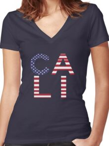 CALI - California Typography Women's Fitted V-Neck T-Shirt