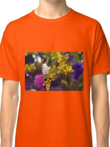 Colorful blurry small flowers pattern. Classic T-Shirt