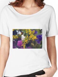 Colorful blurry small flowers pattern. Women's Relaxed Fit T-Shirt