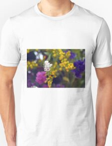 Colorful blurry small flowers pattern. Unisex T-Shirt