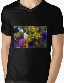 Colorful blurry small flowers pattern. Mens V-Neck T-Shirt